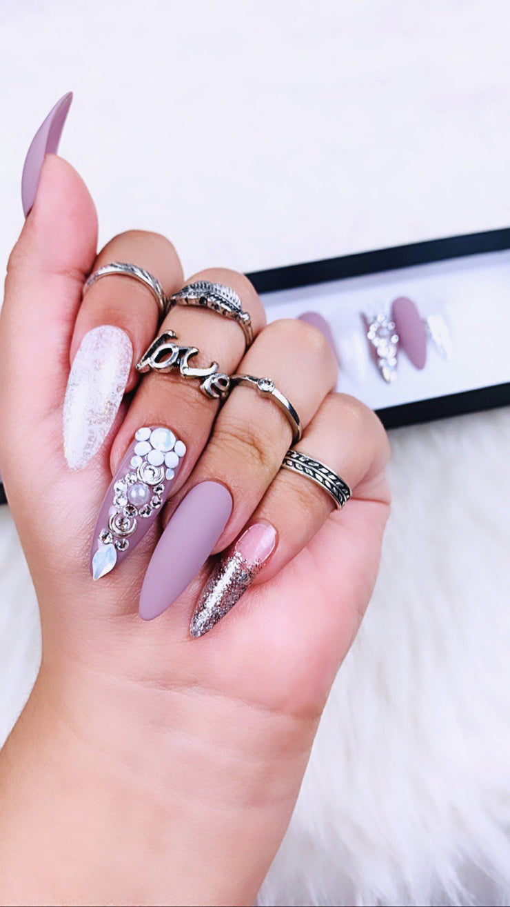 Matte and Silver Pressons | Silver Nails | Matte Grey Nails | Holiday Nails | Bling Nails | Classy Nails | Special Event Nails | Custom