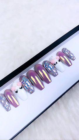 Unicorn Press On Nails | Holo Nails | Purple Nails | Chrome Nails | Unicorn Nails | Press on Nails | Fake Nails | Any Shape and Size|
