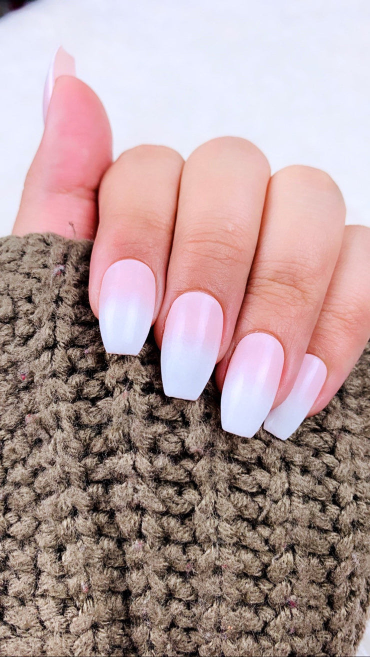 READY TO SHIP |Ombre Nails| Pink Nails | Two Tone Nails | White Nails | French Tip | Fake Nails | Gel Nails | False Nails | Press on Nails