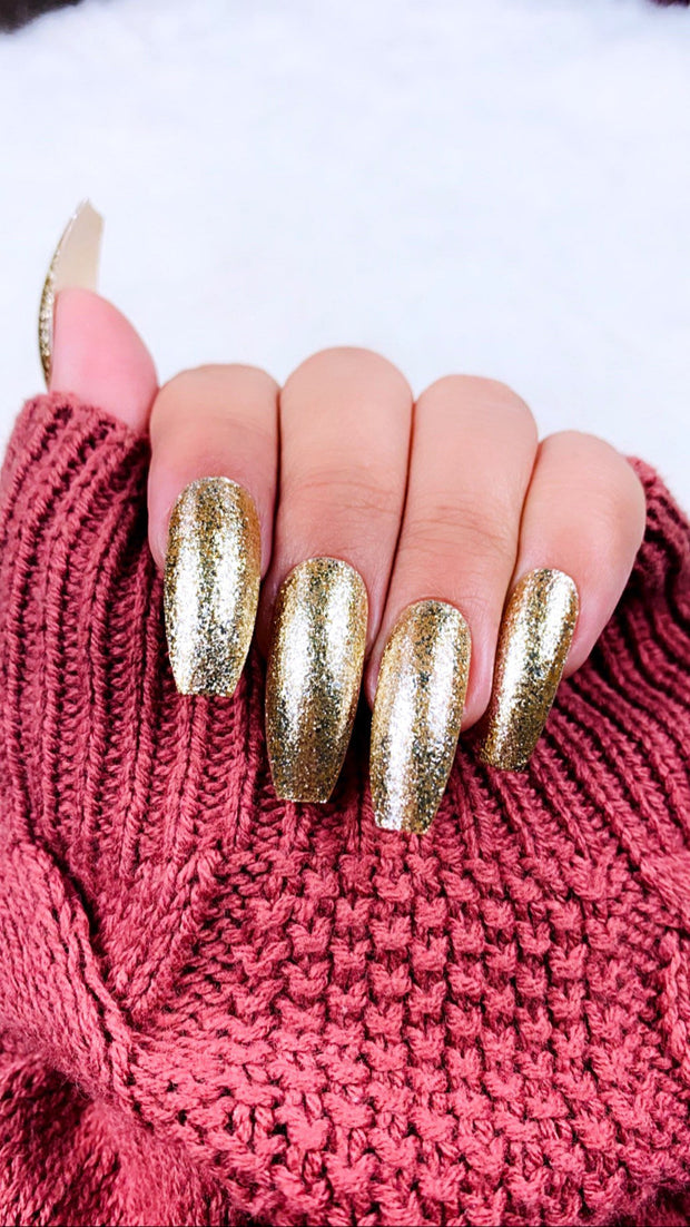 READY TO SHIP| Gold Press on Nails | Gold Nails | Sparkly Nails | Glitter Nails | Fake Nails | Coffin Nails | Stiletto Nails