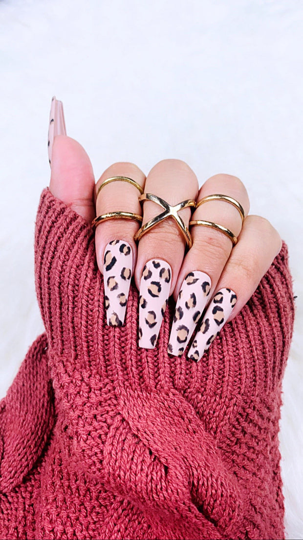 READY TO SHIP| Cheetah | Press On Nails |  Cheetah Nails | Brown Nails | Fake Nails | Beige Nails | Coffin Nails | Stiletto Nails