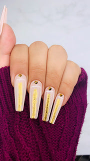 Nude Pink Abstract Nails | Gold Nails | Line Work Nails | Swarovski Nails | Geometric Nails | Pink Nails | Sparkly Nails