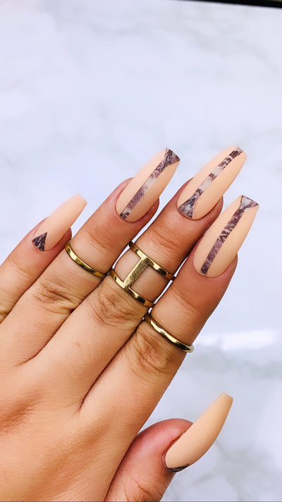 READY TO SHIP| Snake Print | Press On Nails |  Nude Nails | Brown Nails | Fake Nails | Beige Nails | Coffin Nails | Stiletto Nails