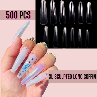 XL Sculpted Long Coffin Nail Tips