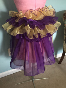 Mardi Gras Tie On Bustle - Purple Gold w Purple Rhinestone - Long
