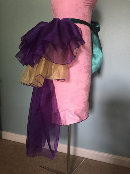 Mardi Gras Tie On Bustle - Purple Gold - Long