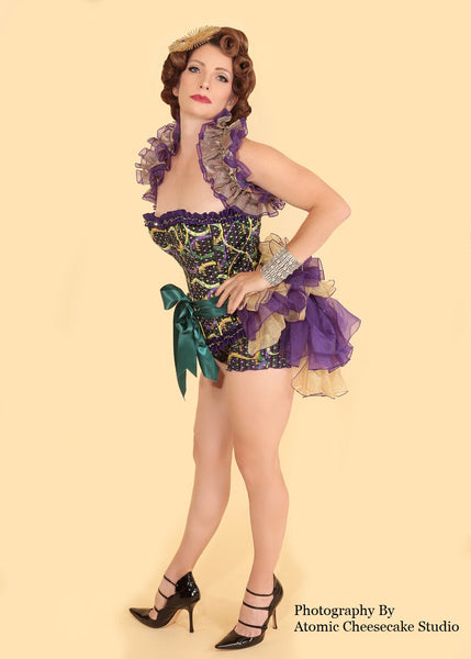 Mardi Gras Tie On Bustle - Purple Gold - Short