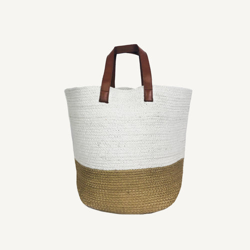 Leather Handled Braided Basket-Bag