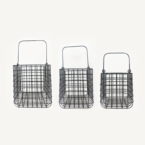 Forever Useful Metal Basket with Handles Set of 3