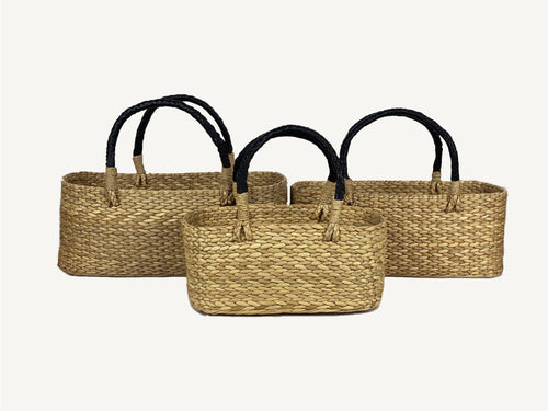 Leather Handle Seagrass Basket Set