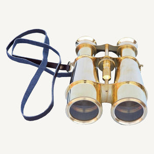 Brass Binoculars with Leather Case