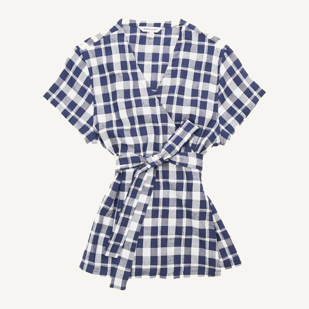 Naomi Top - Navy Plaid