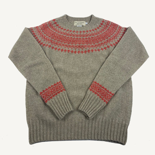 Fair Isle Sweater Oatmilk & Salmon