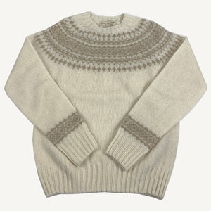 Fair Isle Sweater Winter White & Oatmilk