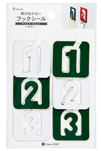 Number Hook Stickers 6 Sheets