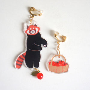 Lesser Panda and apple basket pair of ear nails- iipompon design