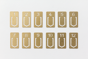 Traveler's Company Brass Numbered Clips 1-12 Numbers
