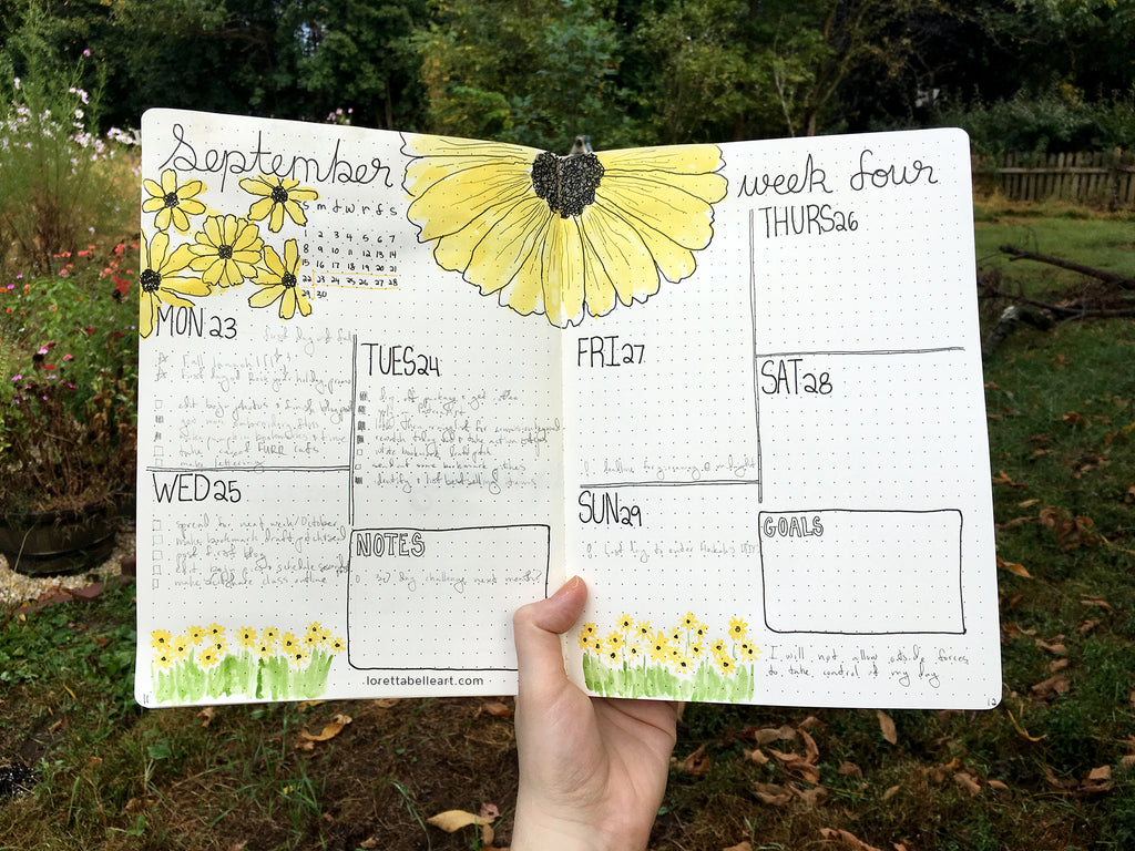 Alternating Bullet Journal Spread