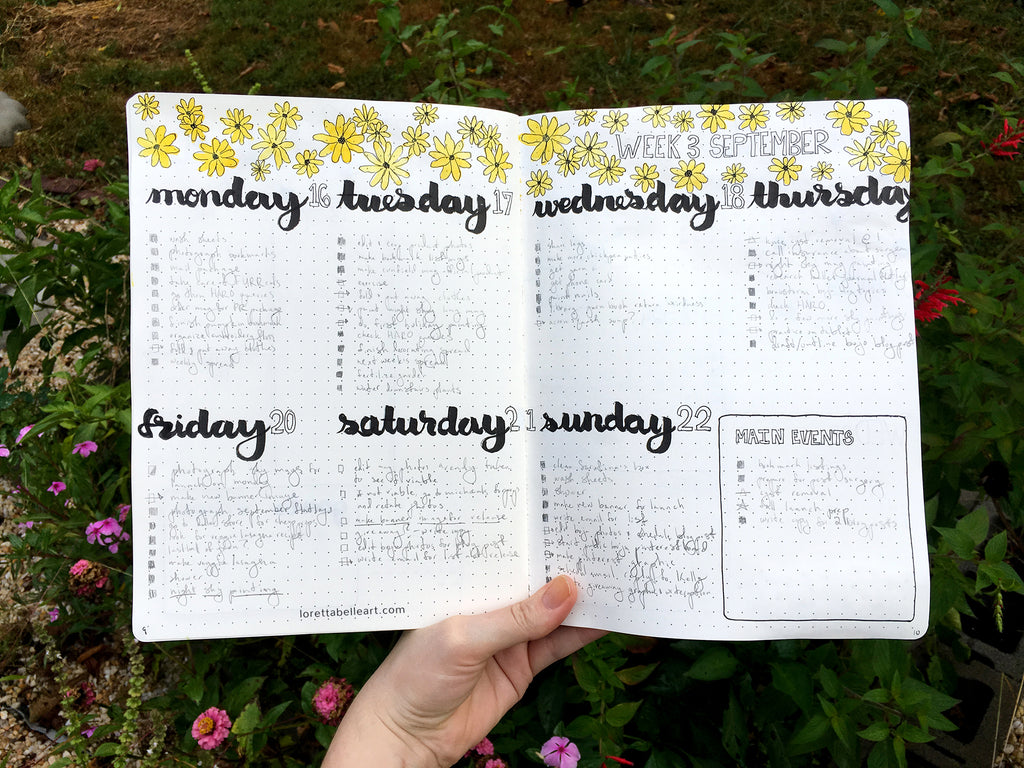 Horizontal Vertical Combo Bullet Journal Spread