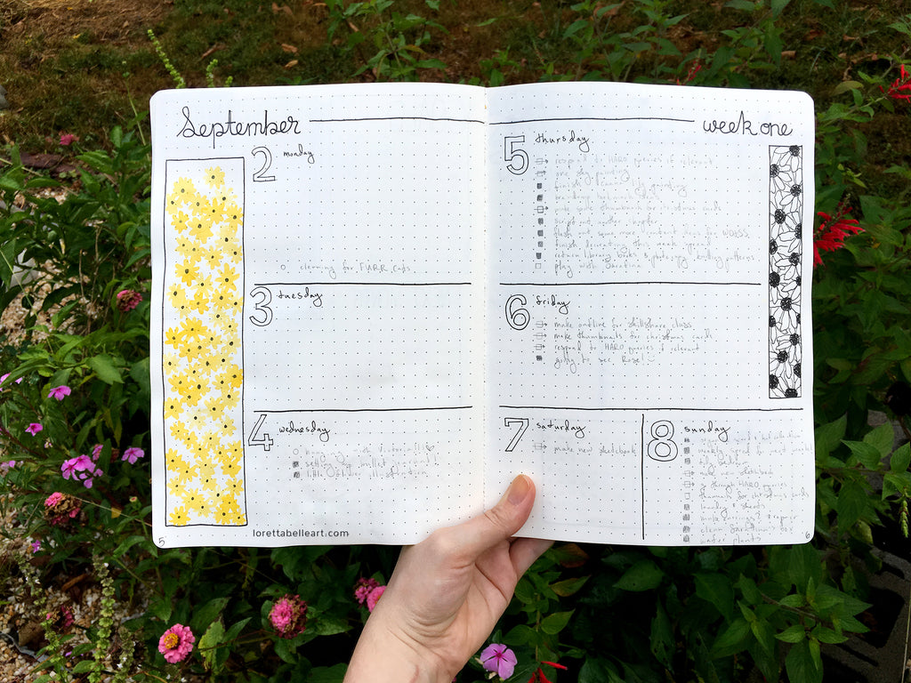 Horizontal Bullet Journal Spread with Daisies