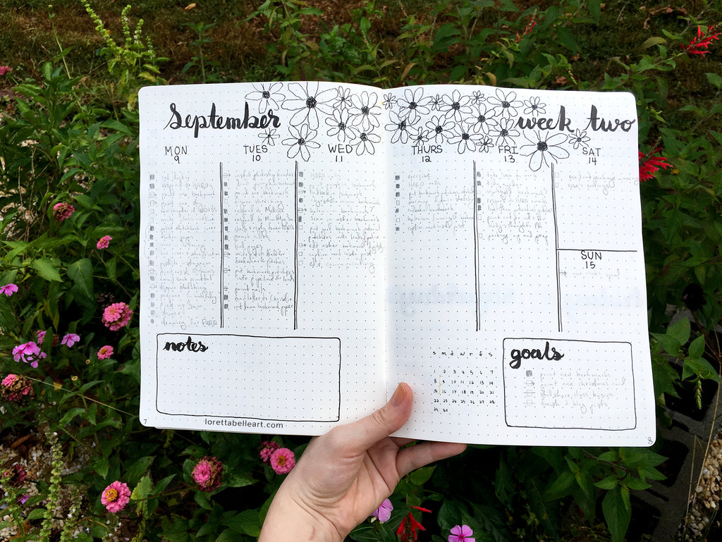 Vertical Bullet Journal Spread with Daisies