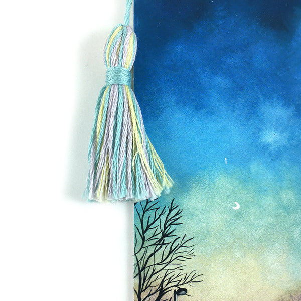 Blue Dusk Moon - Watercolor Sky Bookmark