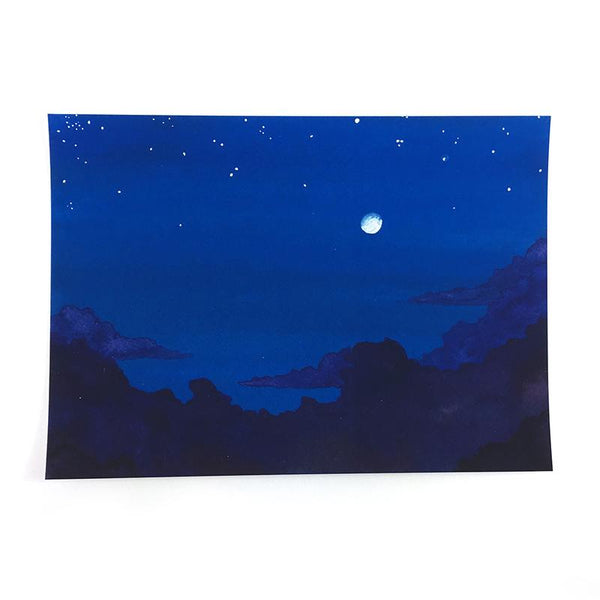 Moon and Clouds - Watercolor Night Sky Art Print