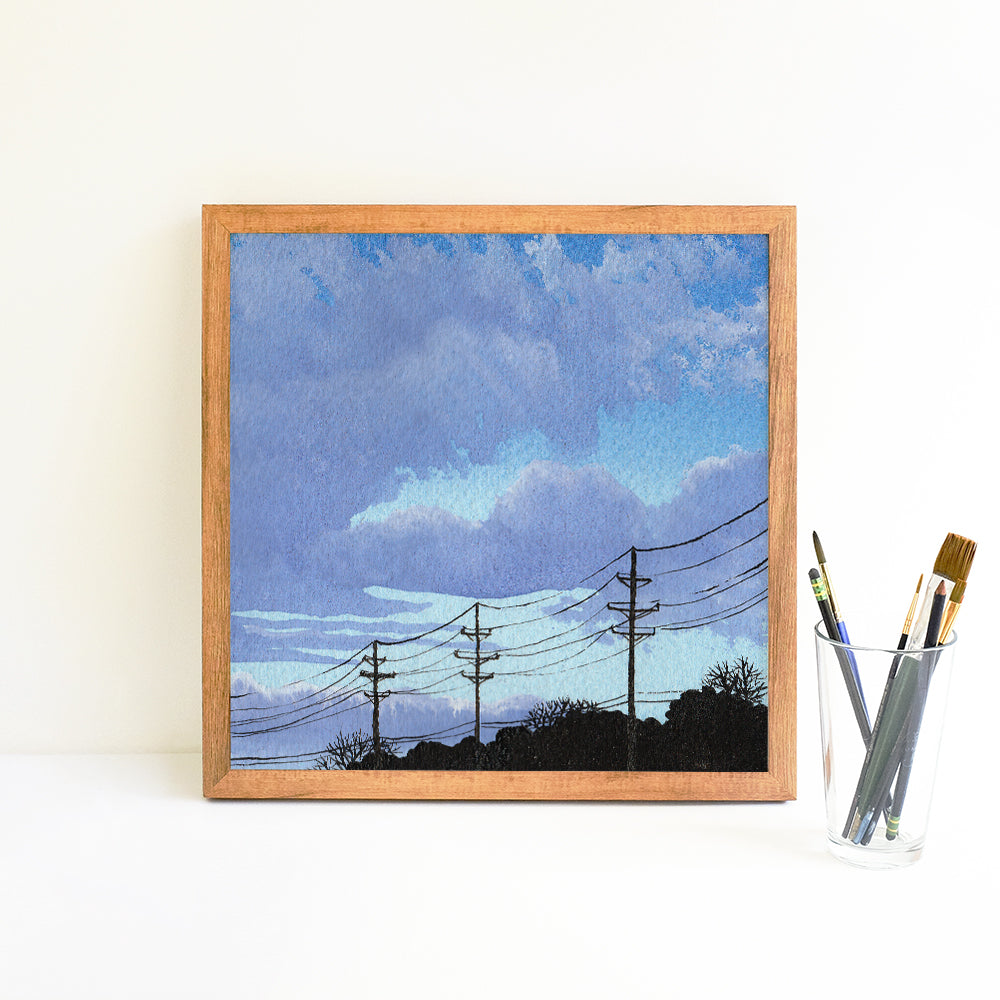 Blue and Purple Cloudscape - Watercolor Sky Art Print