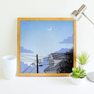 Blue Dusk Moon - Watercolor Sky Art Print