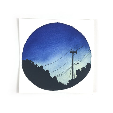 Blue Dusk with Powerlines - Original Watercolor Painting Inktober Day 21