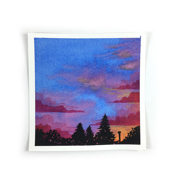 Blue Pink and Orange Sunset Sky - Original Watercolor Painting Inktober Day 3