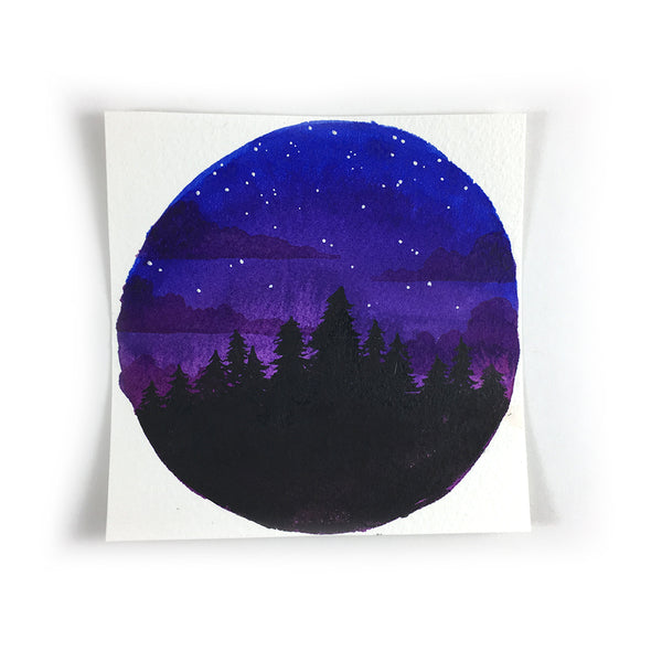 Blue to Purple Night Sky - Original Watercolor Painting Inktober Day 6