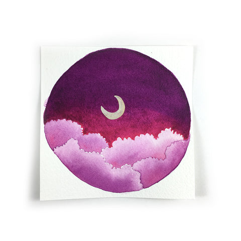 Magenta Clouds and Moon - Original Watercolor Painting Inktober Day 12