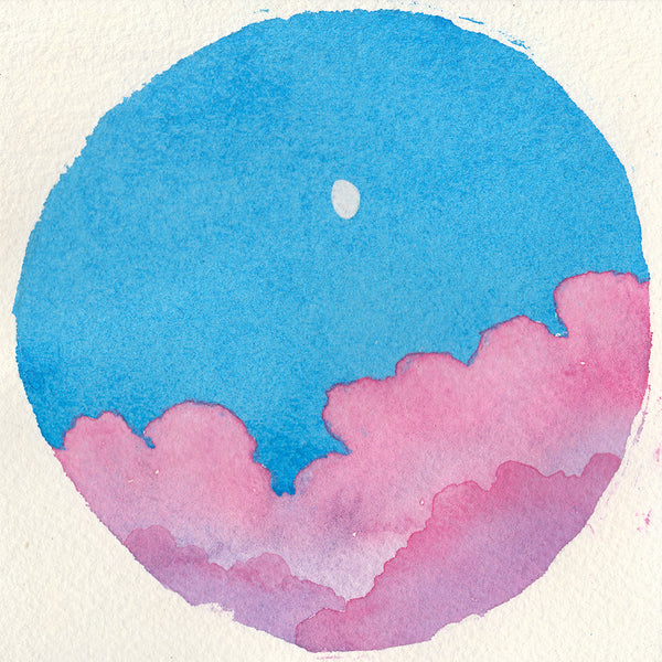 Cotton Candy Clouds Sky - Original Watercolor Painting Inktober Day 4