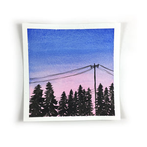 Pink and Blue Sunset Sky - Original Watercolor Painting Inktober Day 5