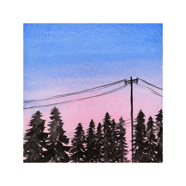 Cotton Candy Sunset with Pine Trees and Powerlines - Watercolor Sky Art Print