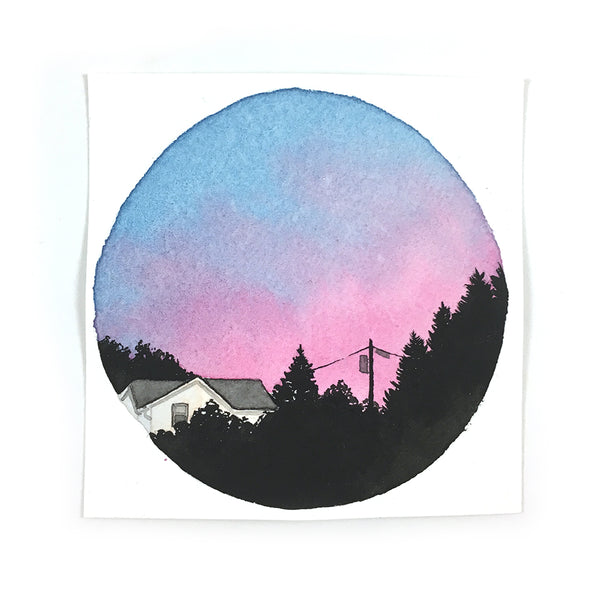 Cotton Candy Sunset with Trees - Original Watercolor Painting Inktober Day 19