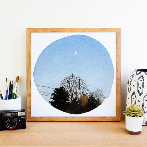 Crescent Moon and Trees - Watercolor Sky Art Print