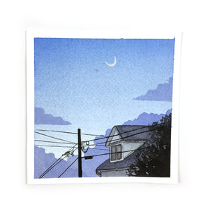 Dusk Sky With Moon - Original Watercolor Painting Miniature
