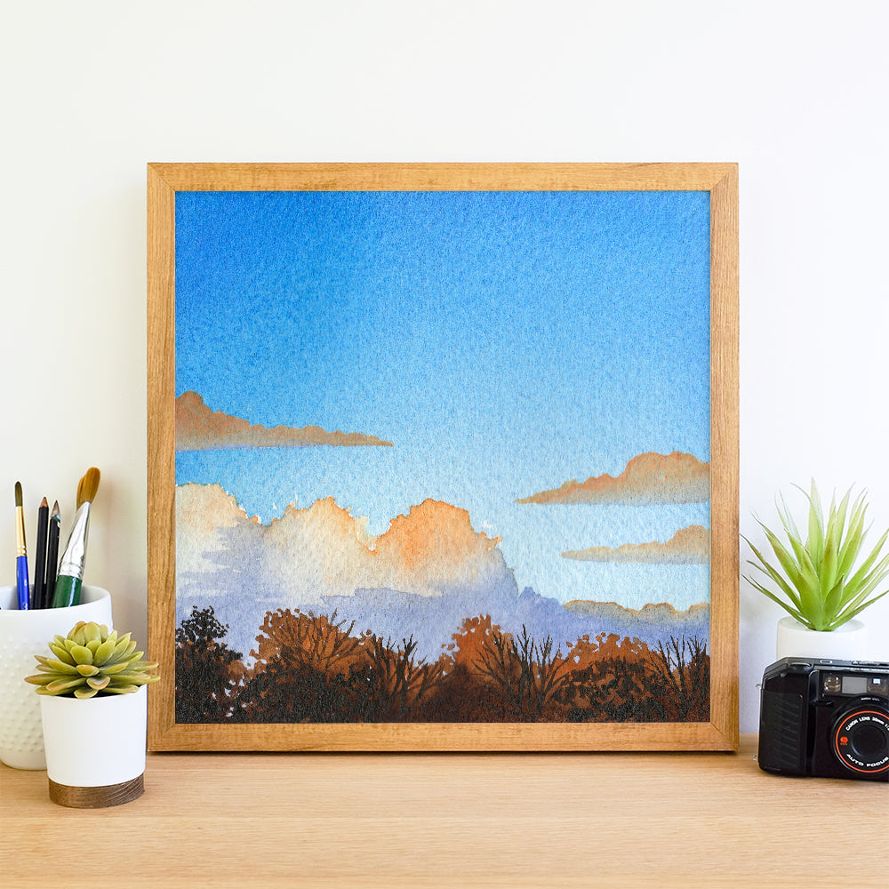 Fall Sunset with Clouds - Watercolor Sky Art Print