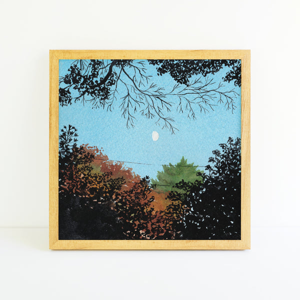 Fall Trees and Moon - Watercolor Sky Art Print