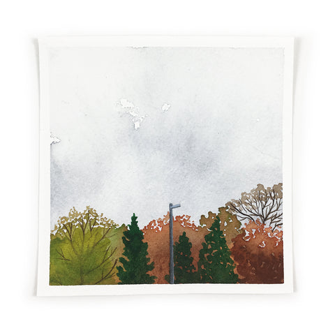 Fall Trees and Sky - Original Watercolor Painting Inktober Day 20