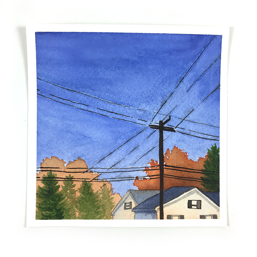 Fall Trees with Powerlines - Original Watercolor Painting Inktober Day 18