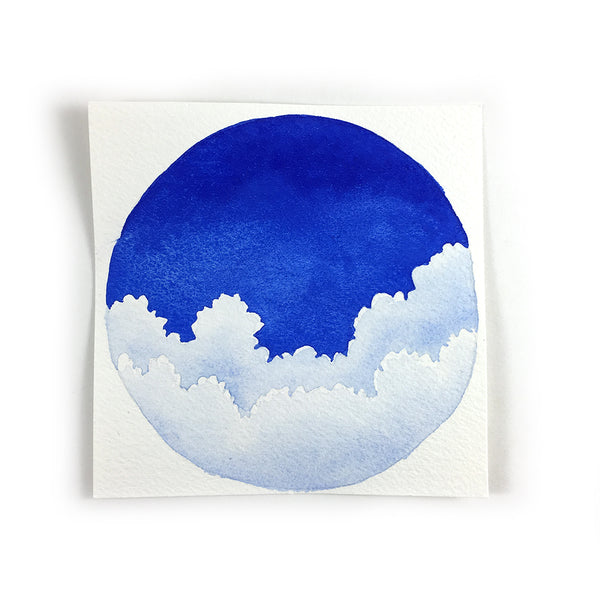 Fluffy Blue Clouds - Original Watercolor Painting Inktober Day 8