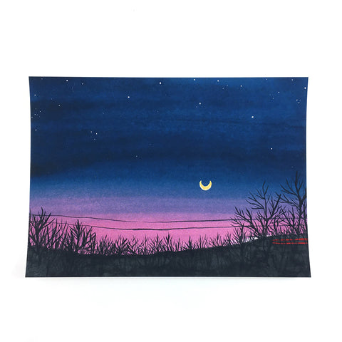 Highway Moon - Watercolor Night Sky Art Print