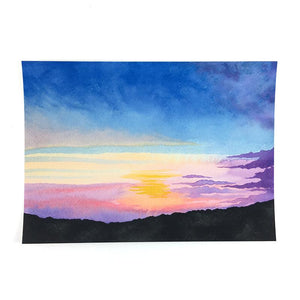 Mountain Sunset - Watercolor Sky Art Print