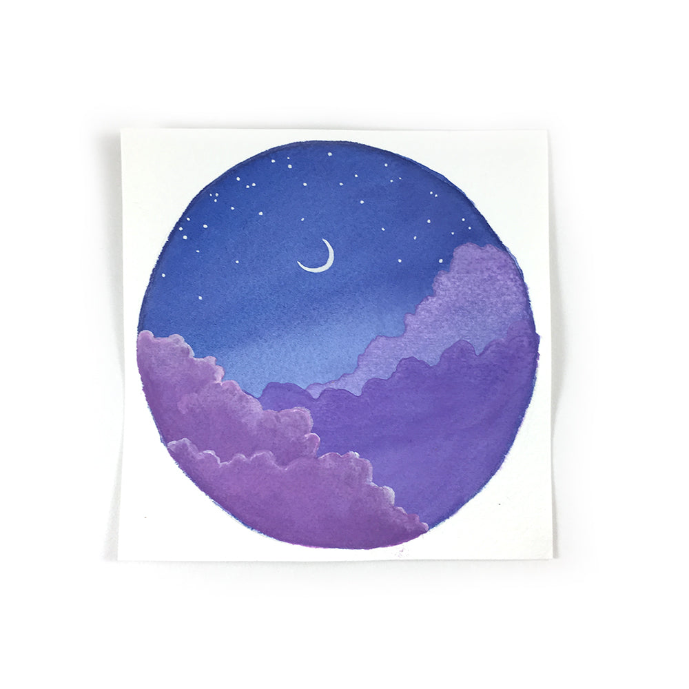 Purple Night Sky with Moon - Original Watercolor Painting Inktober Day 31