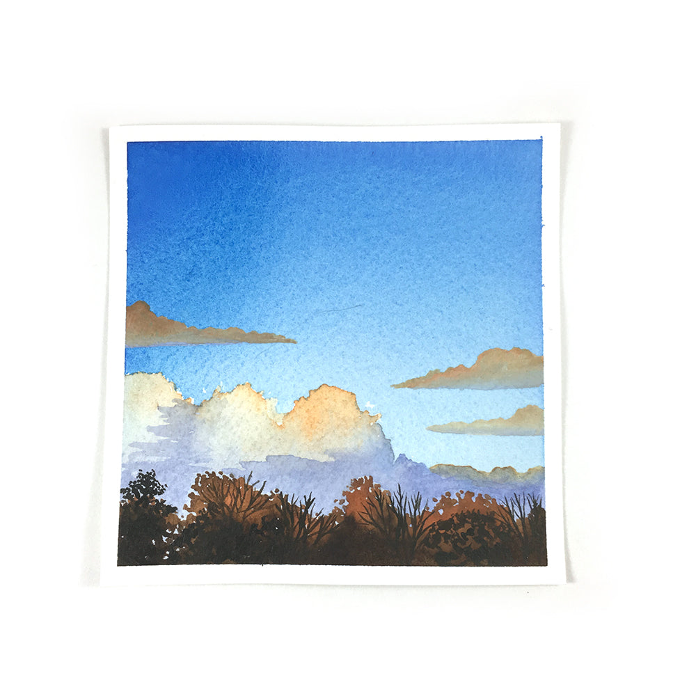 Orange Cloudy Sunset - Original Watercolor Painting Inktober Day 28