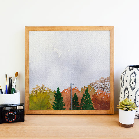 Orange Trees and Overcast - Watercolor Sky Art Print