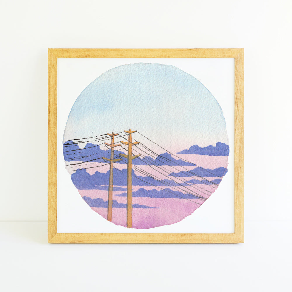 Pastel Cloudy Sunset - Watercolor Sky Art Print